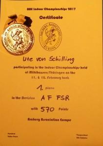 von Schilling Bogensport - Foto AAE 2017 Dr. Ute von Schilling - AAE Indoor Championchip, AAE Indoor Championchip Mühlhausen,AAE Indoor Championchip Thüringen, AAE-Archery Europe, Archery Association Europe -